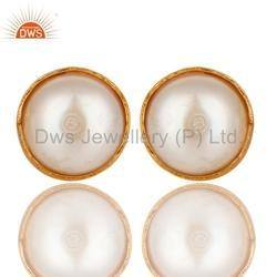 Natural Pearl Brass Studs Earring