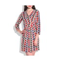 Ikkat Printed Knee Length Dress