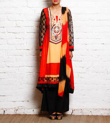 Red & Black Embroidered Georgette Suits with Palazzo