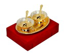 VESPL Elegant Gold And Silver Plated Bowls Set Of 5 Pcs