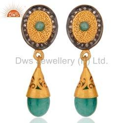 Emerald Pave Diamond Gold Plated Earring