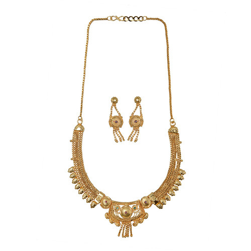 multi description product necklace sets gold earring pearl chain elegant white weave layer