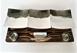 3 x 1 Wooden Snacks Service Set with SS Hammered Platters