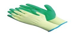 samarth knitted glovess yellow on green latex coated gloves