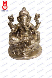 Lord Ganesh W/ Pillow Half Rd. Base