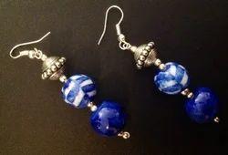 Blue Pottery Three Bead Earring