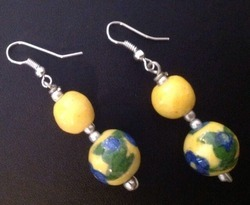 Blue and Yellow Pottery Earring