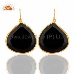 Black Onyx Gemstone Silver Earrings
