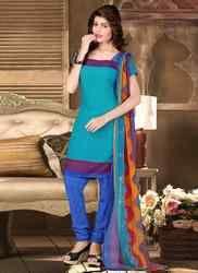 Churidar Suit with Multi Color Dupatta
