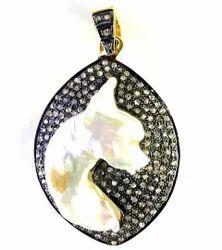 Silver Diamond Charm Pendant