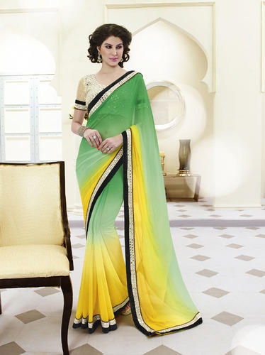 Green And Yellow Georgette Saree Designs