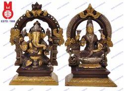 Laxmi and Ganesh Sitting Yelli Ring on Sq. Base Statues