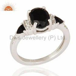 925 Silver Black Onyx Gemstone Ring
