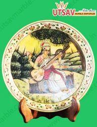 Lord Saraswathi Meenkari Painting Work Marble Plates