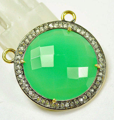 Green Chalcedony Pave Set Gemstone Charms Pendant