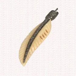 Diamond  Bone Feather Charms