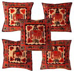 Elephant Cut Work Cushion Cover