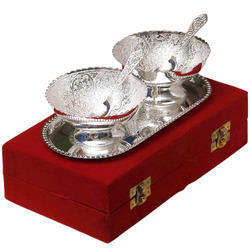 Round Shape Silver Plated Bowl with Tray