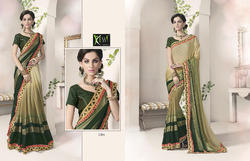 Beige and Green Saree