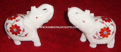 Marble Inlay Elephants