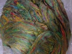 Multicolored Sari Silk Sliver In Green Shade For Spinners