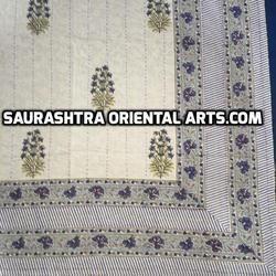 Block Print Kantha Quilts - Flower Design