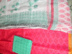 Aaditri Pink And White Chanderi Suit