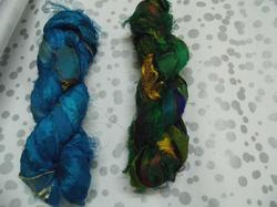 Solid Colored Sari Silk Ribbon In Blue And Green Colors