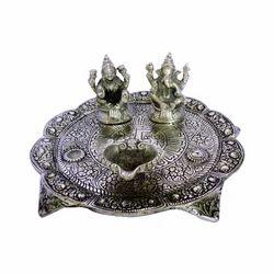 White Metal Laxmi Ganesh Pooja Thali with Diya