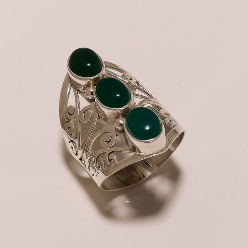 Sterling Silver Green Onyx Ring 6.42