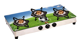 3 Burner Glass Top Cook Top Gas Stove