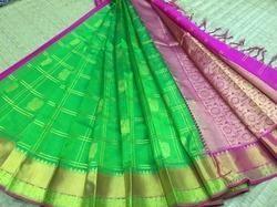 Silk Imitation Silk Cotton Zari Checks Annam Butta Sarees