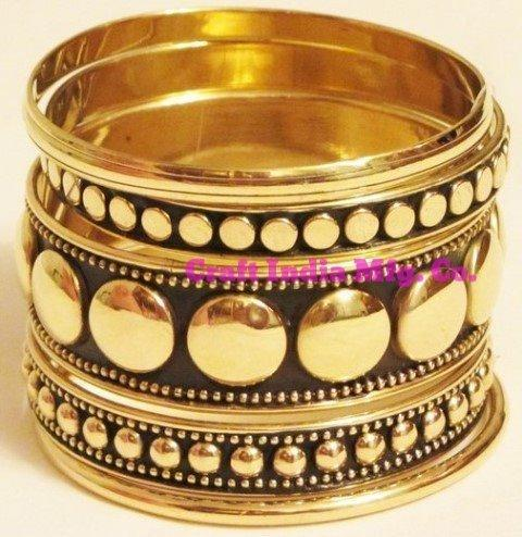 Brass-Stud Bangles Set