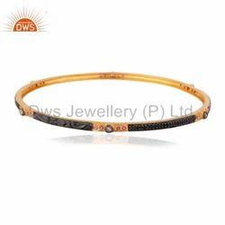 Pave Diamond Gold Plated Bangle