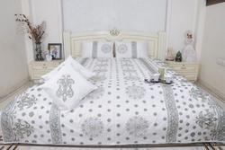 Silk Dupion Queen Size Bed Sheet With Cushion Cover 5pcs set