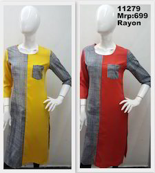Rayon Screenprint Kurta With Pocket