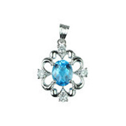 Blue Topaz Gemstone Silver Pendent