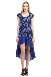 Cottinfab Women's Printed High Low Dress