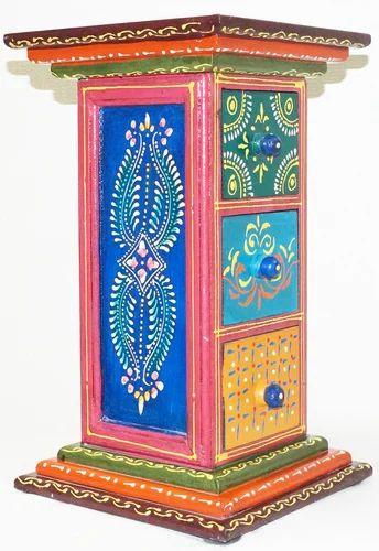 Wood Hand Painted Pillar Drawer