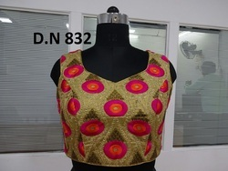 Golden Dhupion Embroidered Stitched Blouse