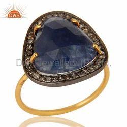 Pave Diamond Blue Sapphire Ring