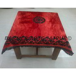 Designer Table Cover Velvet Aari Embroidery Lacework