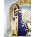 Yellow and Blue Combination Saree