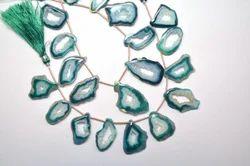 Green Agate Slice Druzy Quartz Beads Strand