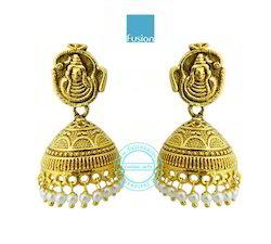 Temple Antique Jhumka Earrings