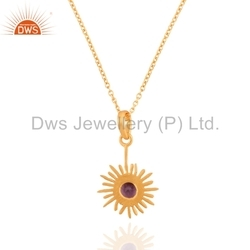 Silver Gold Plated Amethyst Gemstone Pendant