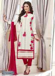 Ladies Cream and Red Straight Cigarette Pant Suits