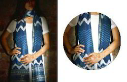 Blue Chanderi Silk Printed Dupatta