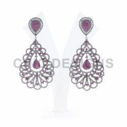 Diamond Ruby Dangle Earrings
