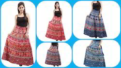 Girls Multicolor Wrap Around Skirt